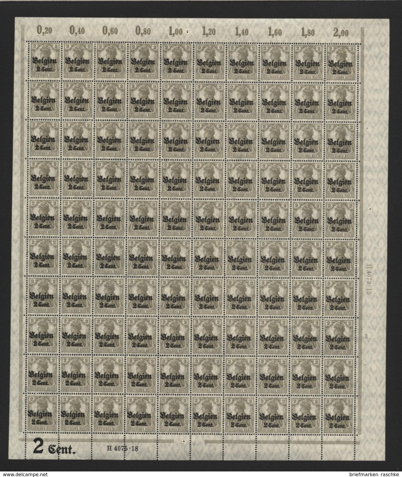 Belgien,Nr.10 Im Bogen,xx,Pl.3 Mit FI (M4) - Besetzungen 1914-18
