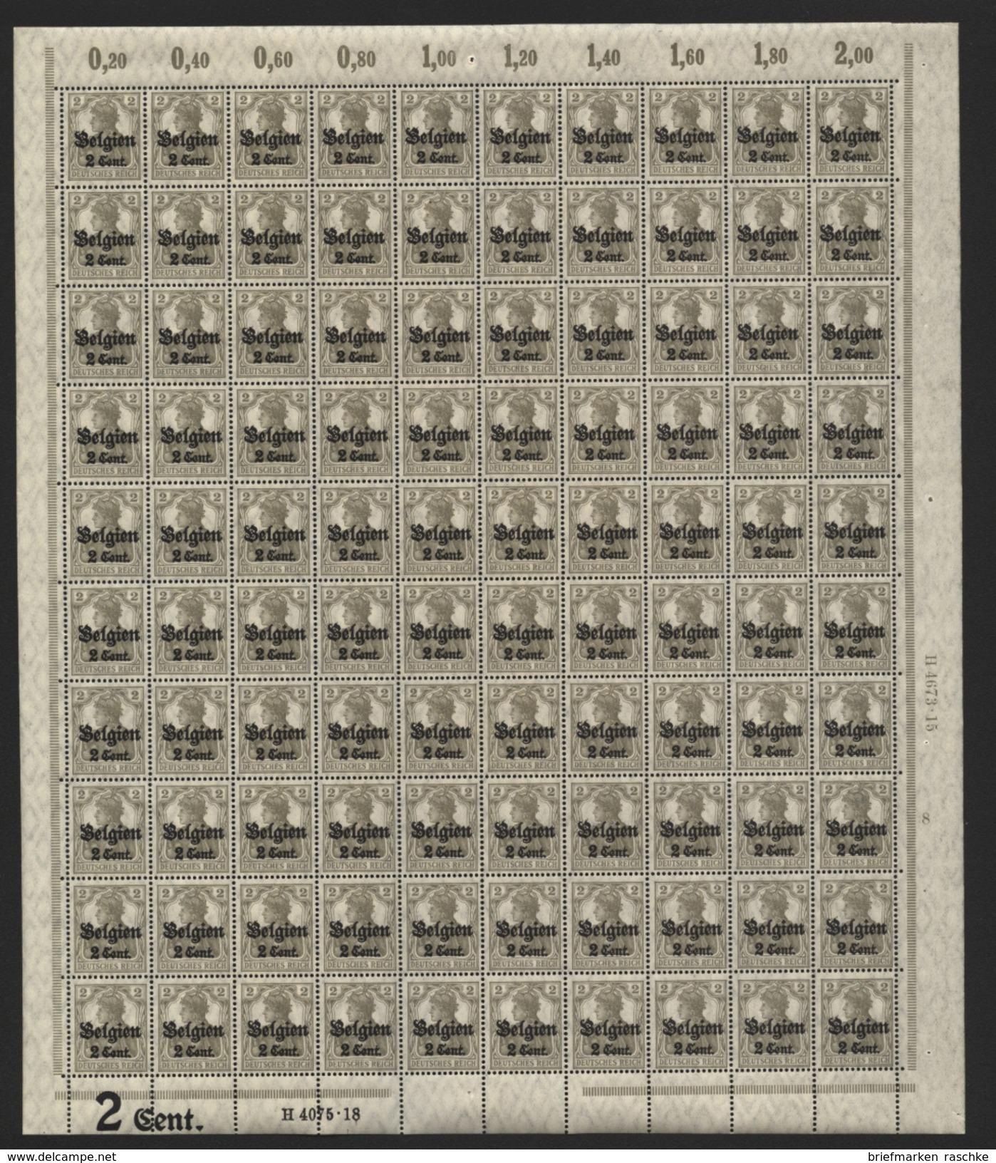 Belgien,Nr.10 Im Bogen,xx,Pl.8 ,ohne FI (M4) - Besetzungen 1914-18