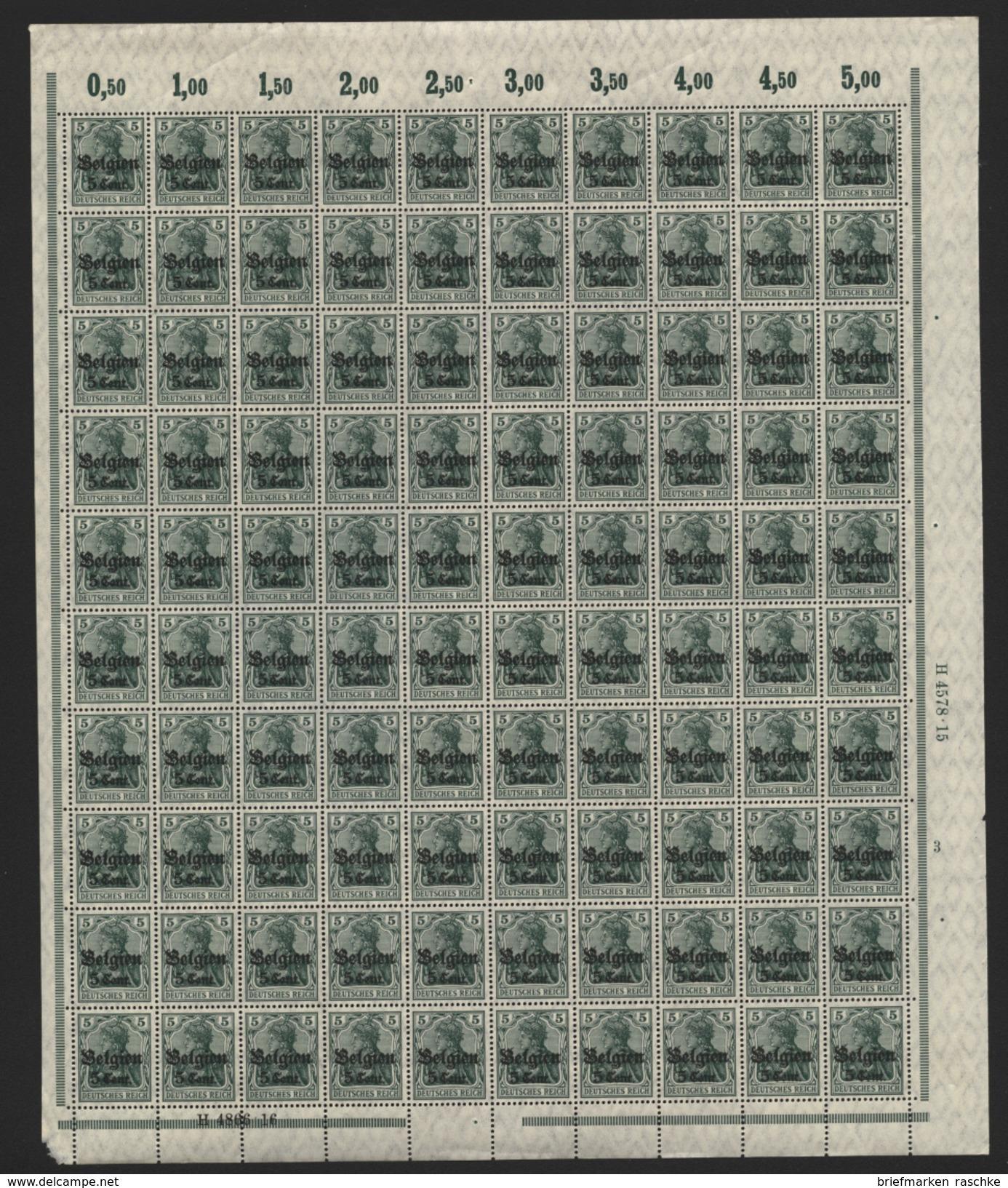 Belgien,Nr.12 Im Bogen,xx,  (M4) - Besetzungen 1914-18
