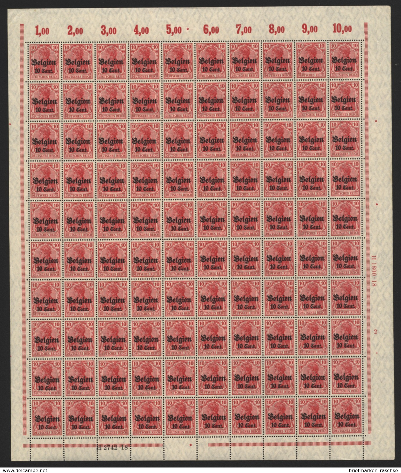 Belgien,Nr.14 Im Bogen,xx,  (M4) - Besetzungen 1914-18