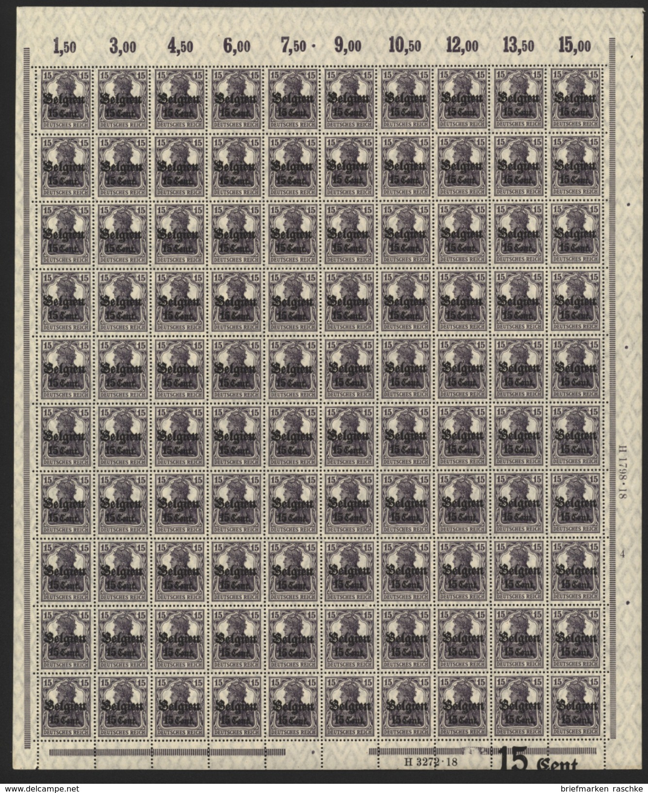 Belgien,Nr.16bI Im Bogen,xx,  (M4) - Besetzungen 1914-18