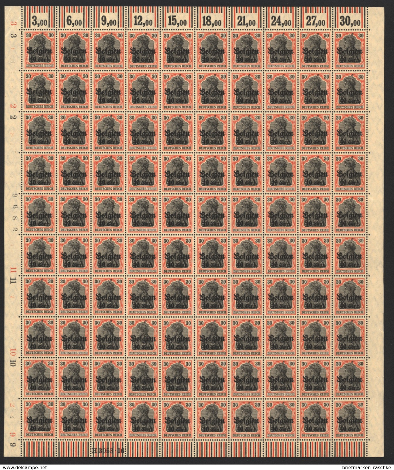 Belgien,Nr.19 Im Bogen,xx,  (M4) - Besetzungen 1914-18