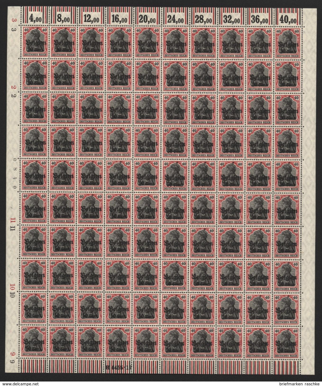Belgien,Nr.20bI Im Bogen,xx,  (M4) - Occupation 1914-18