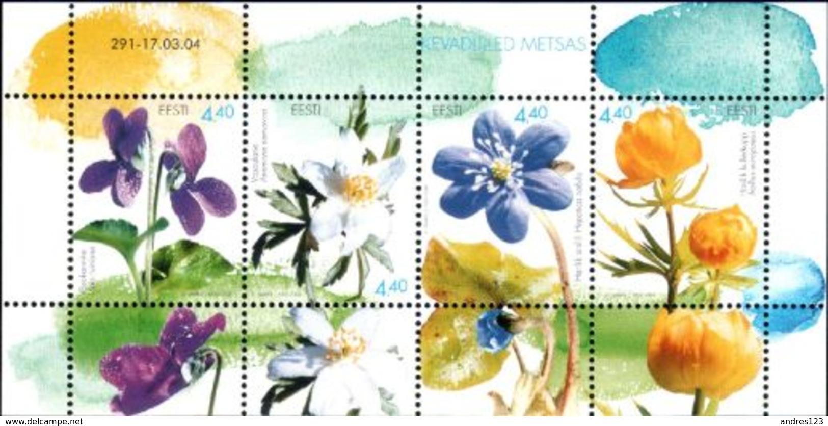 Estonia 2004 MNH ** Mi 481-484 Bl 21 Woodland Spring Flowers - Estonia