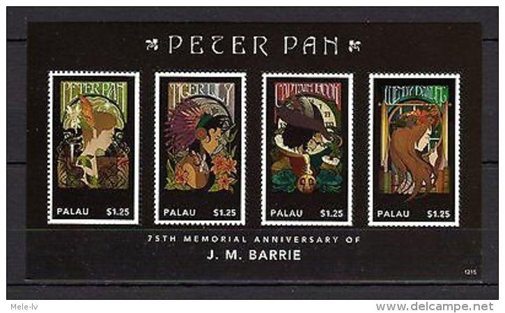 Palau 2012 Art Writers J.Barrie Peter Pan MNH - Famous People