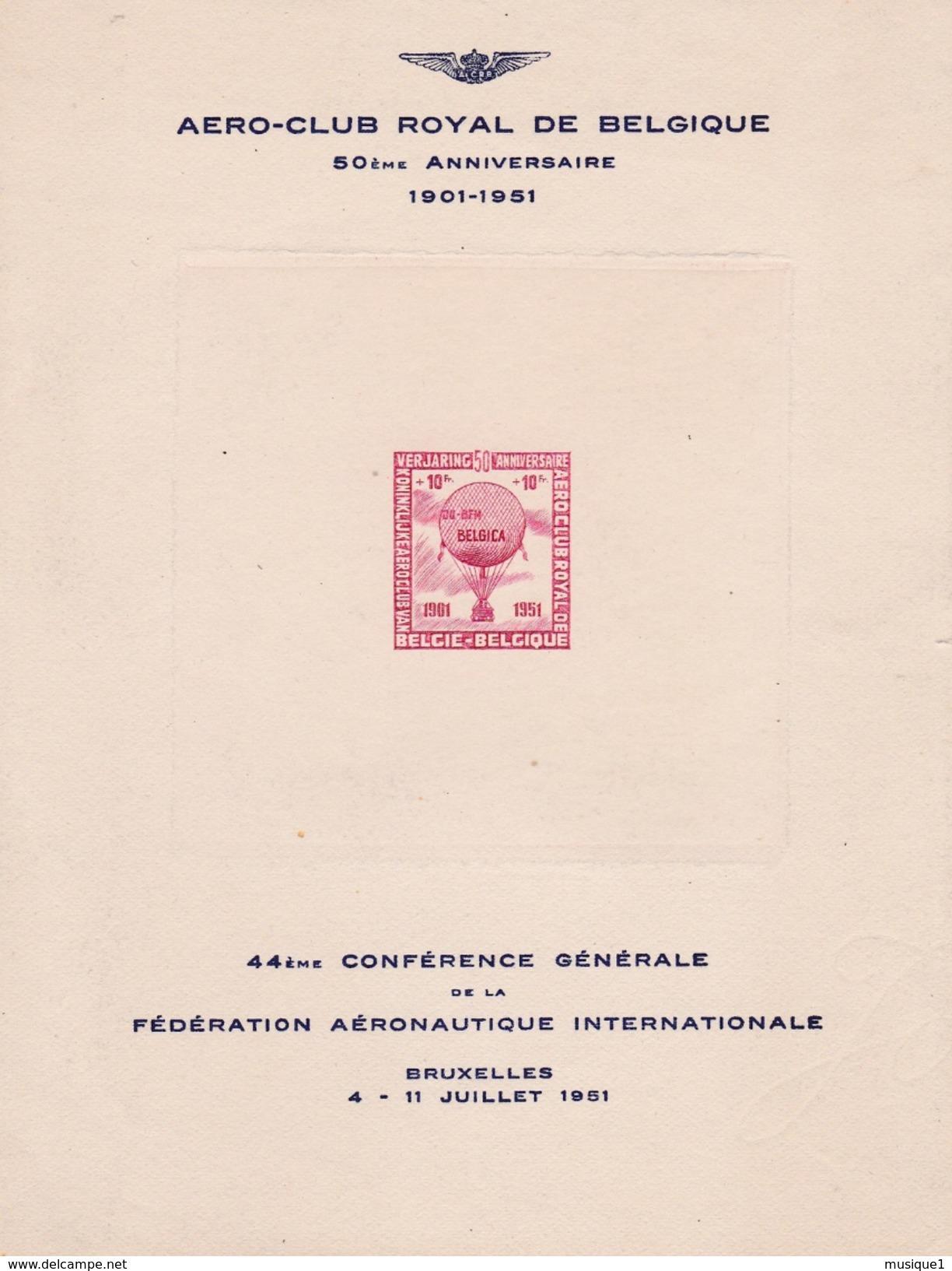 Bloc E63 - Aéro-Club Royal De Belgique 1951 - Erinnophilie