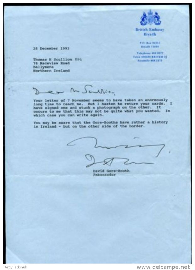 GB SAUDI ARABIA 1993 AMBASSADOR SIGNATURE - Autographs