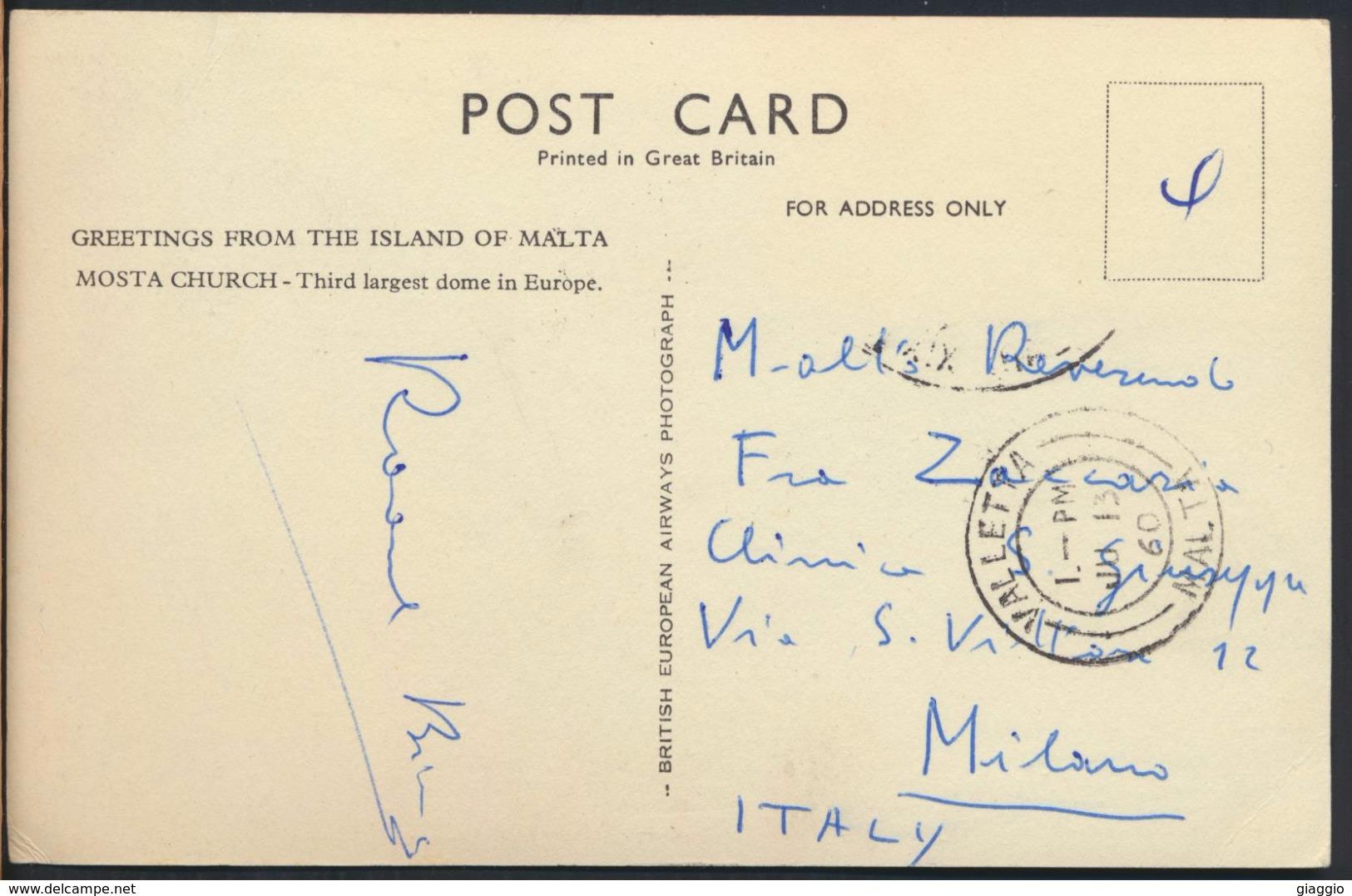 °°° 4629 - GREETINGS FROM THE ISLAND OF MALTA MOSTA CHURCH - 1960 °°° - Malta