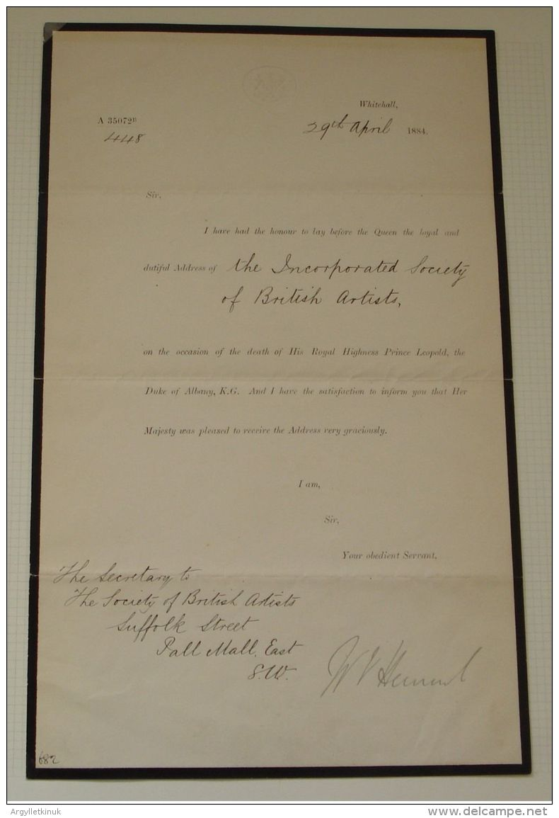 ADDRESS BEHALF QUEEN VICTORIA SOCIETY BRITISH ARTISTS 1884 DEATH PRINCE LEOPOLD - Old Paper