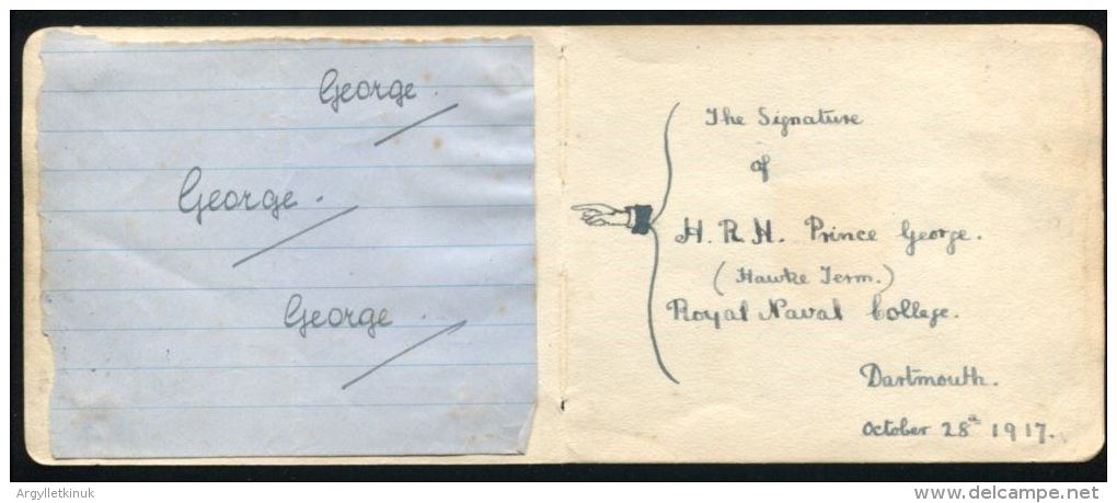 FINE AUTOGRAPH SIGNATURE PRINCE GEORGE DUKE OF KENT ROYAL NAVAL COLLEGE 1917 - Unclassified