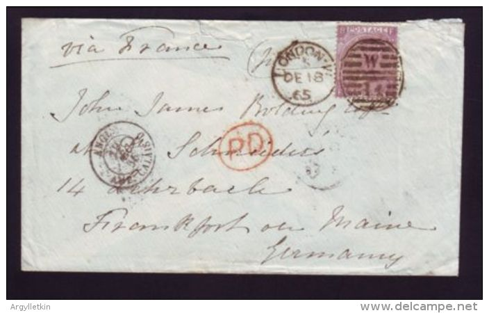 GREAT BRITAIN 1865 COVER TO GERMANY VIA FRANCE - Postmark Collection