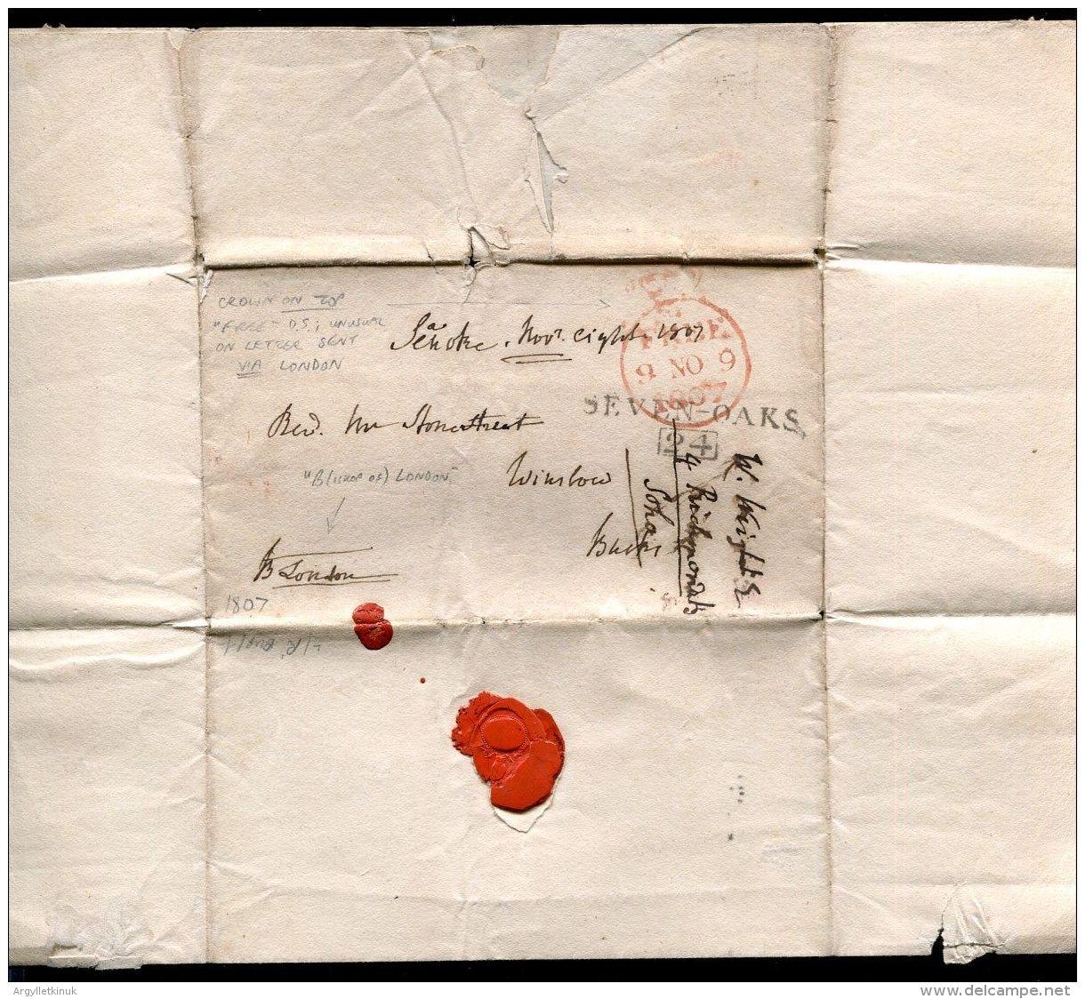 GREAT BRITAIN PARLIAMENTARY FREE BISHOP OF LONDON SIGNATURE SEVENOAKS SMITHFIELD - Postmark Collection