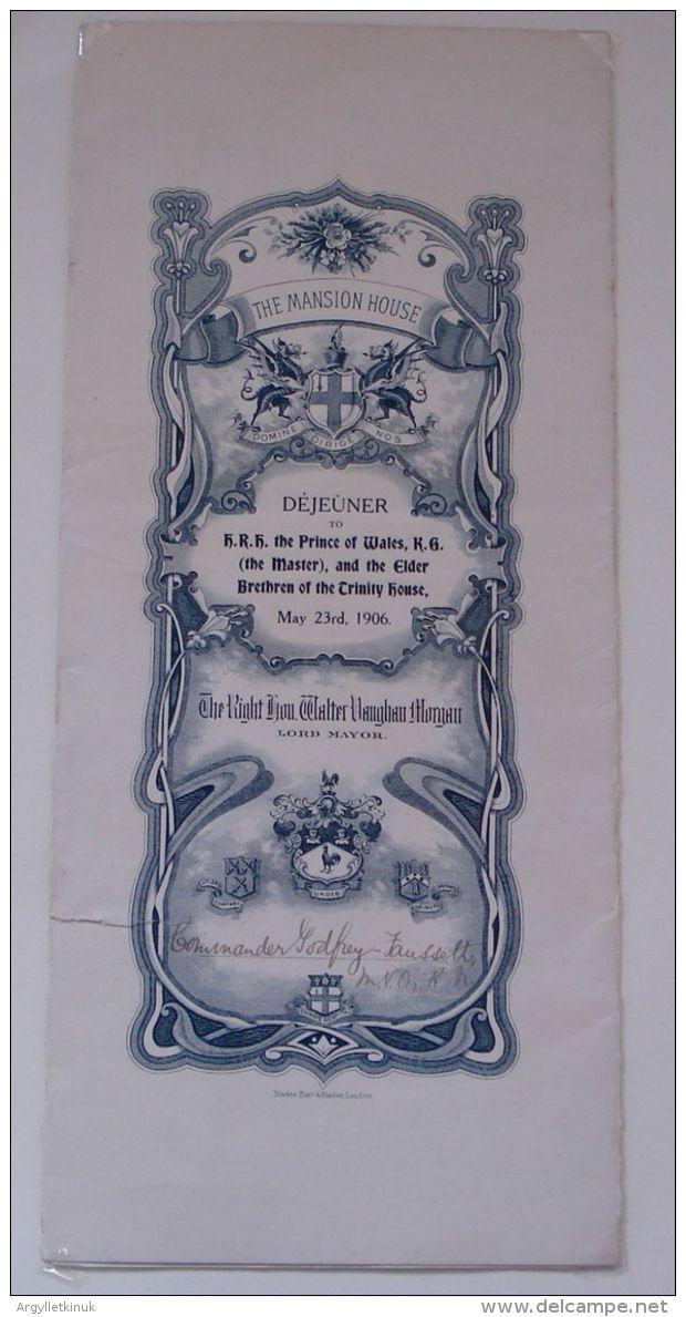 DINNER PROGRAMME MUSIC MANSION HOUSE PRINCE GEORGE V ROYAL - Old Paper
