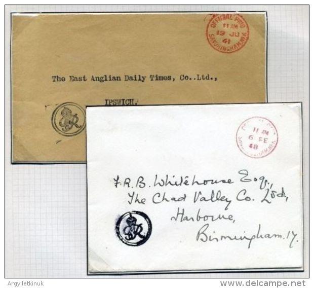 KING GEORGE 6TH SANDRINGHAM 1941 AND 1948 ENVELOPES - 1902-1951 (Kings)