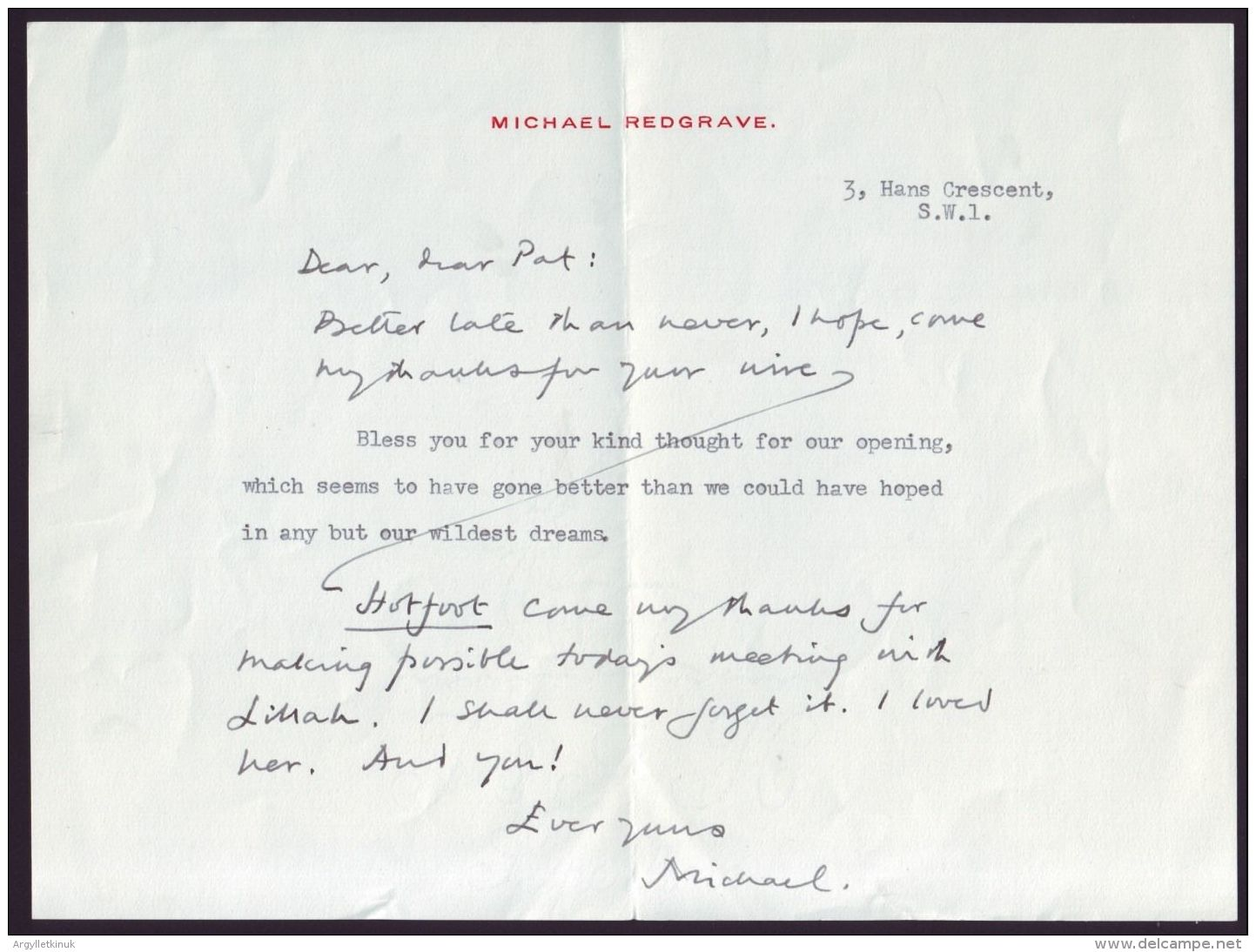 BRITISH ACTOR MICHAEL REDGRAVE SIGNED LETTER - Unclassified