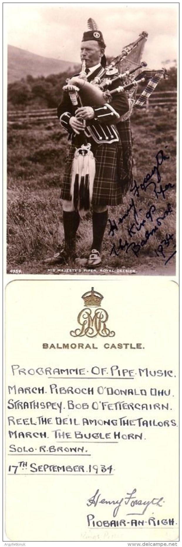 RARE SIGNED BALMORAL CASTLE PROGRAMME & POSTCARD SCOTS PIPE MAJOR H FORSYTH 1934 - Autographs