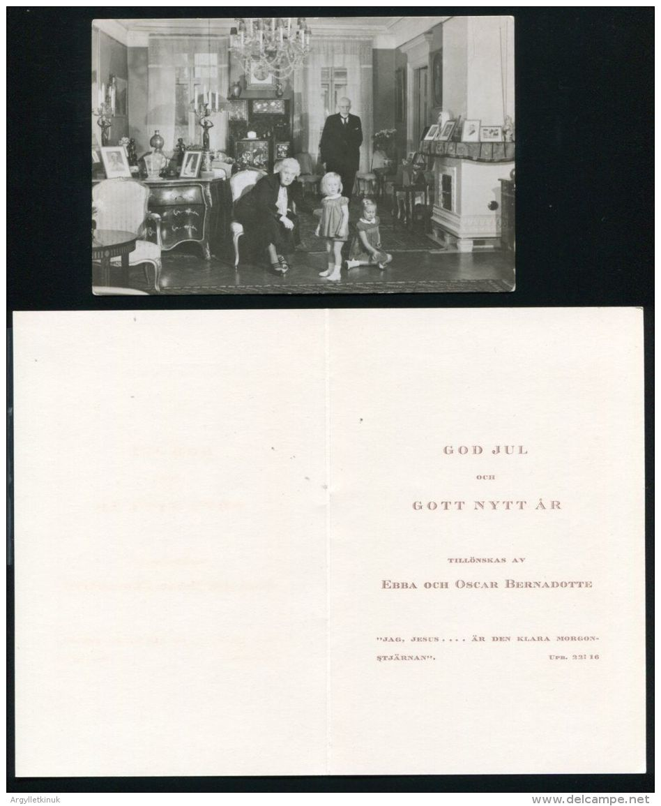 CHRISTMAS CARD AND SIGNED POSTCARD OF EBBA & OSCAR BERNADOTTE OF SWEDEN 1942 - Other Collections