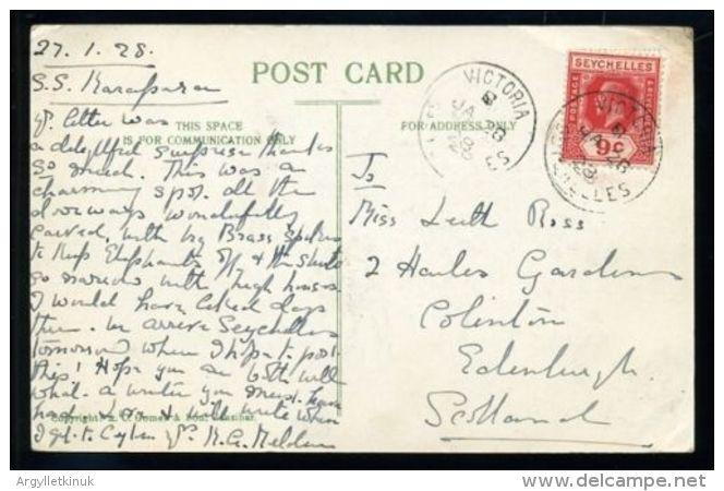 INDIAN OCEAN STEAMER MAIL S.S KARAPARI SEYCHELLES 1928 - Seychelles (...-1976)