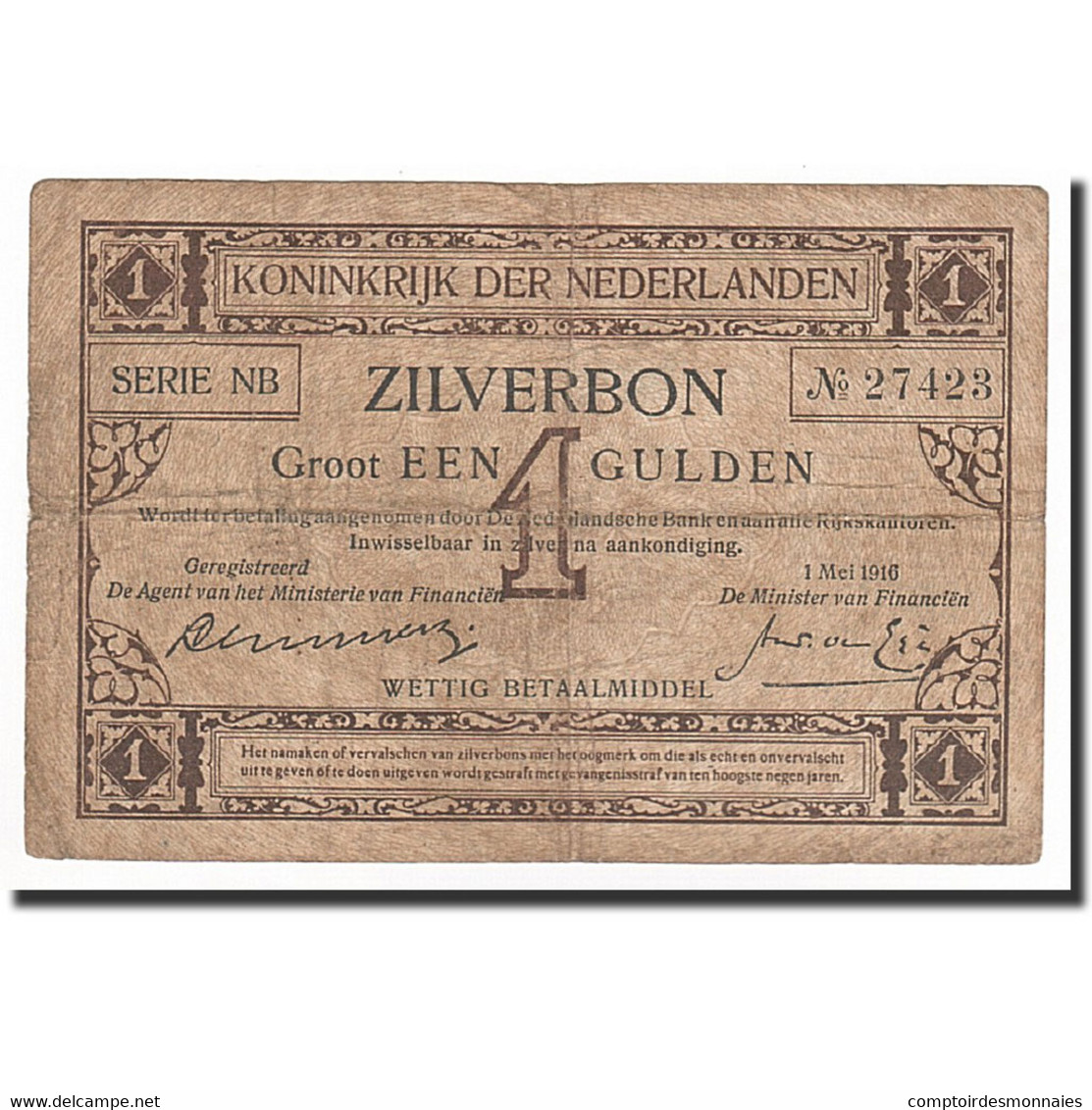 Pays-Bas, 1 Gulden, KM:8, 1916-05-01, TB - [2] 1815-… : Regno Dei Paesi Bassi