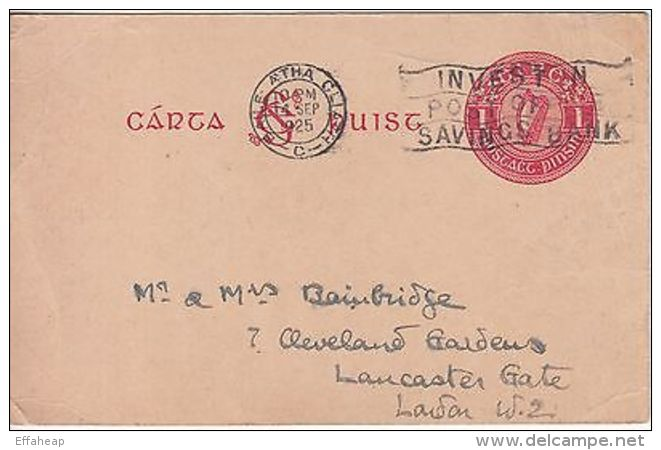 Ireland: One Penny Printed Postcard; Dublin To London, 14 September 1925 - Ireland