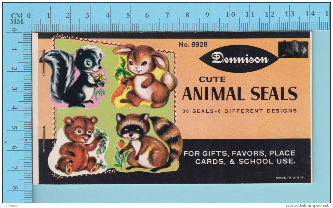 Dennison -Cute Animal Seals 36 Seals 6 Different Desings, 1960 Racoon,skunk, Rabit, Bear - 2 Scans - Scrapbooking