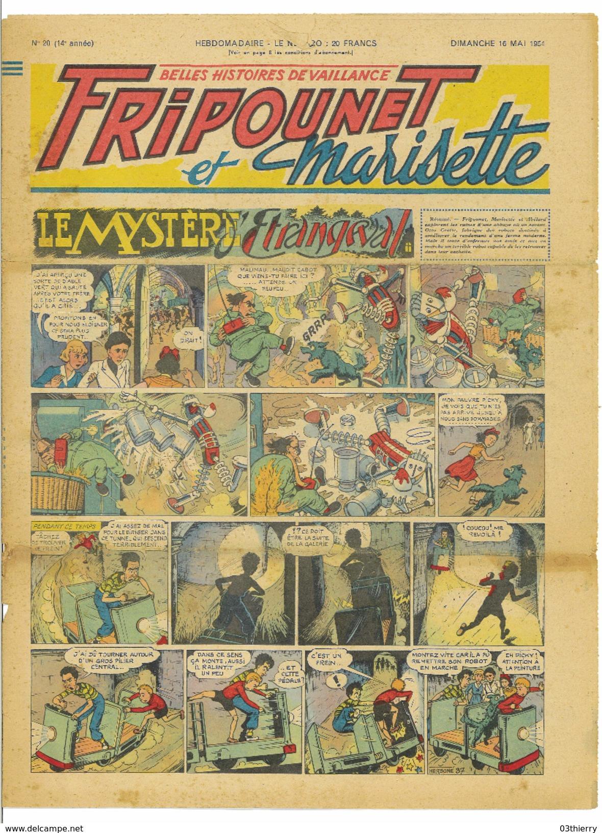 JOURNAL FRIPOUNET ET MARISETTE N°20 14eme ANNEE 16 MAI 1954 LE MYSTERE D'ETRANGEVAL - 1901-1940
