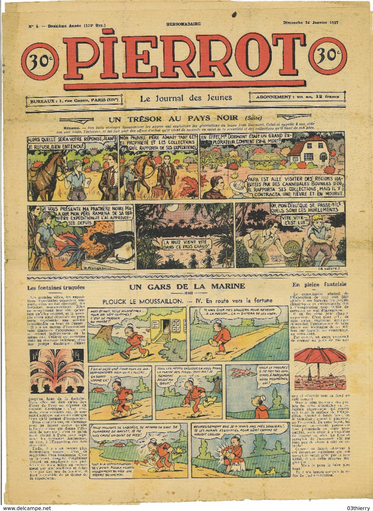 JOURNAL PIERROT N°4 12eme ANNEE 24 JANVIER 1937 UN TRESOR AU PAYS NOIR - Livres, BD, Revues