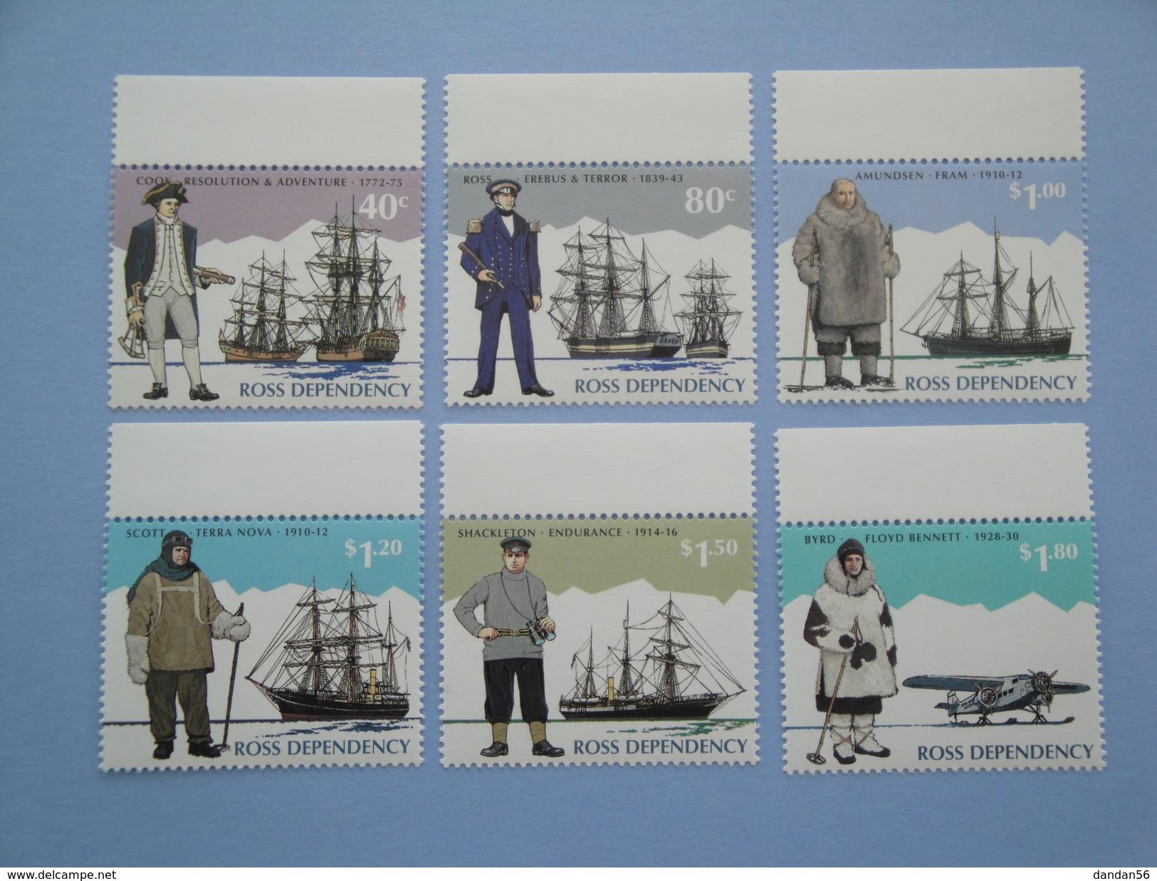 1995 Ross  Nouvelle Zélande - Yvert 38/43 ** Bateaux Ships Explorers  Scott L 31/6  Michel  32/7  SG 32/7 - Dépendance De Ross (Nouvelle Zélande)