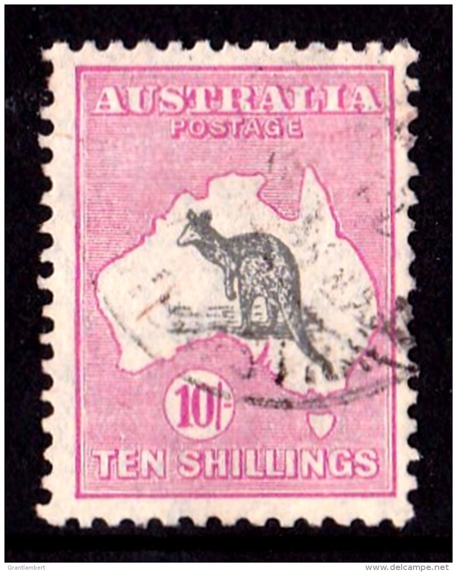 Australia 1929 Kangaroo 10/- Grey & Pink Small Multi Wmk - EWE-FACED Variety - Used Stamps