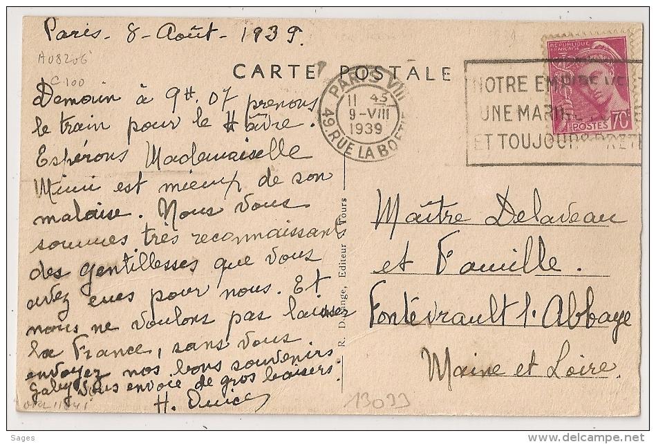 PARIS VIII 49. RUE LA BOETIE, NOTRE EMPIRE VEUT UNE MARINE FORTE ET TOUJOURS PRETE. 1939 - Oblitérations Mécaniques (flammes)