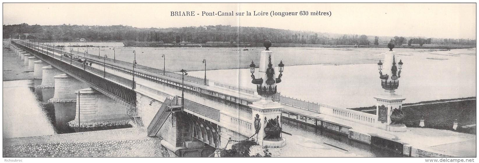 45 BRIARE CARTE DOUBLE PONT CANAL SUR LA LOIRE - Briare