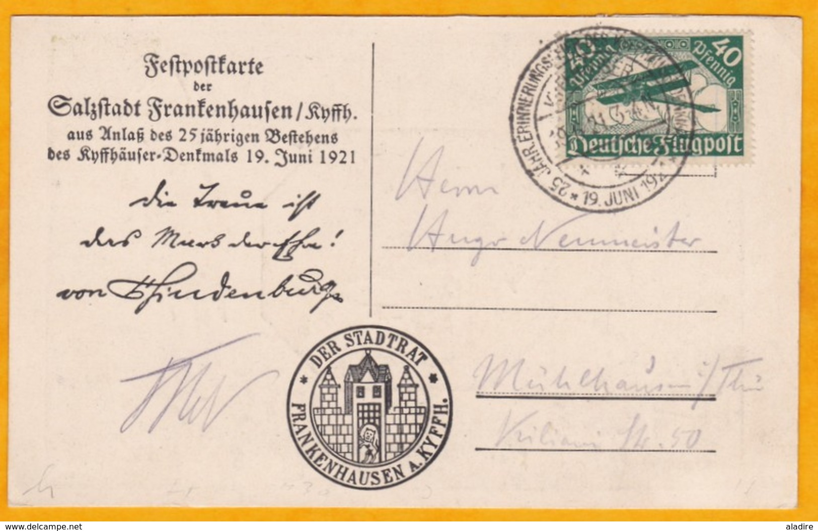 1921 - LAC De Frankenhausen, Allemagne Vers Mühlhausen I. Thüringen - 40 Pf Poste Aérienne - Obl Spéciale - Allemagne