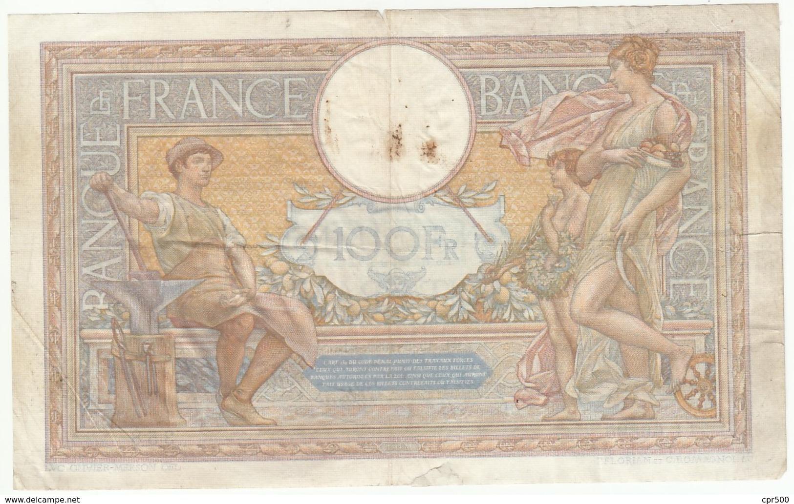 100 Francs Luc Olivier Merson Type 1906 Modifié, Fayette 25.47 P86, 19/05/1939, Alphabet L.66895, Etat : B - 1871-1952 Antiguos Francos Circulantes En El XX Siglo