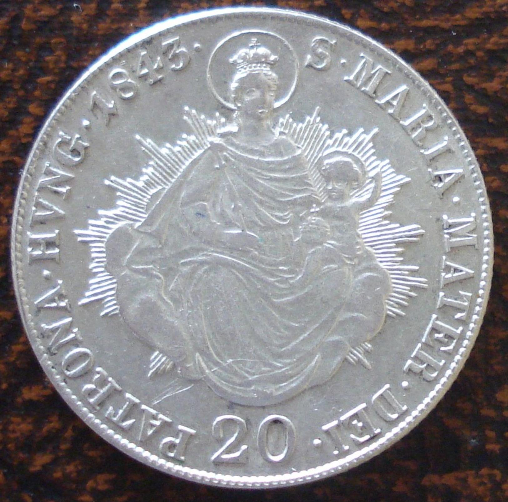 (J) HUNGARY: Silver 20 Krajczar 1843B AU (2547) SALE!!!! - Hongrie