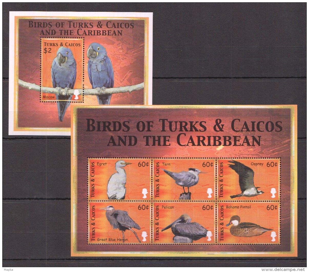 NN221 TURKS&CAICOS BIRDS CARIBBEAN 1KB+1BL  MNH - Perroquets & Tropicaux