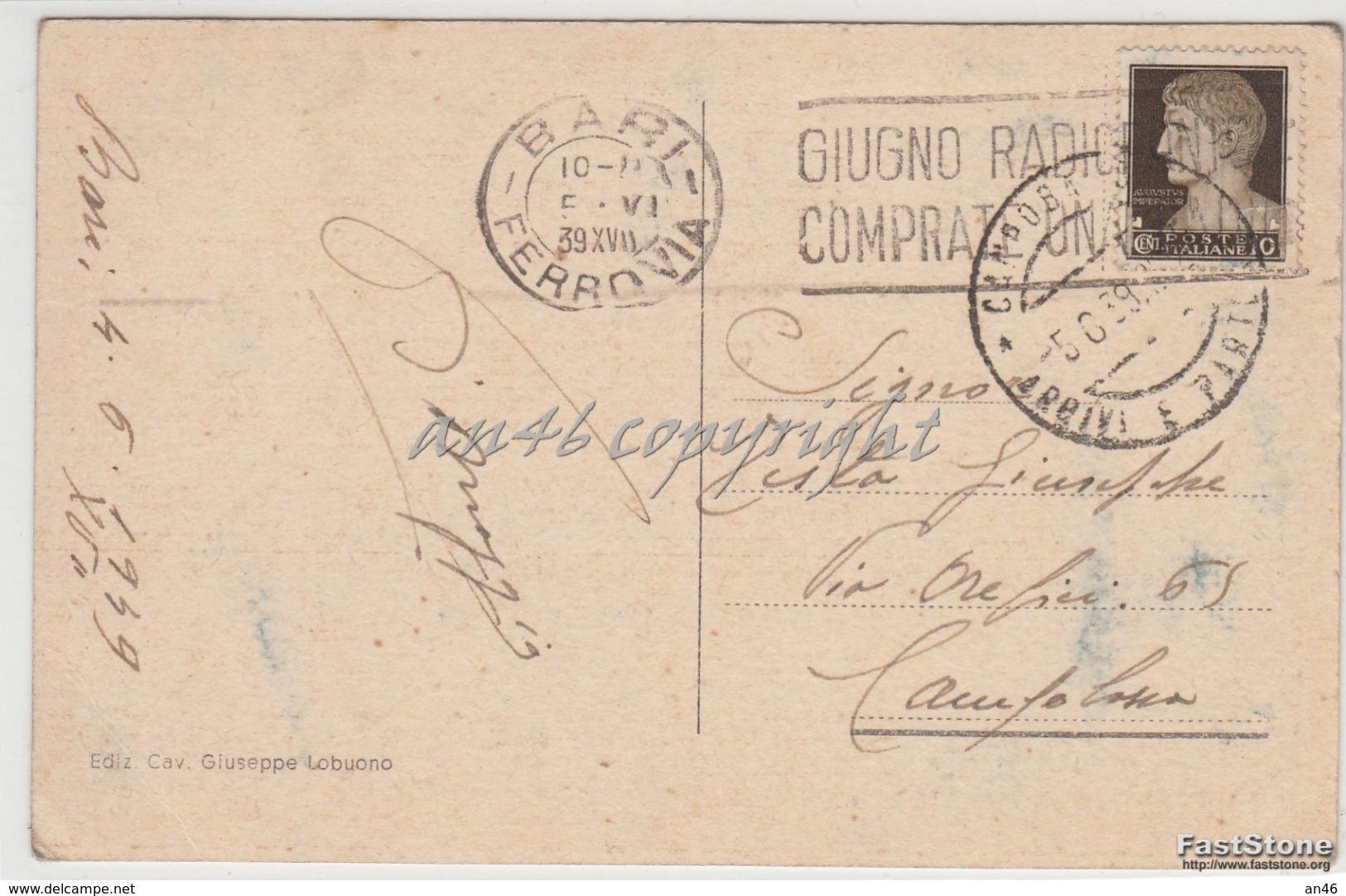 Bari_Corso Vittorio Emanuele_Vg Il 4/6/1939-Antica Originale_ 2 Scan- - Foggia