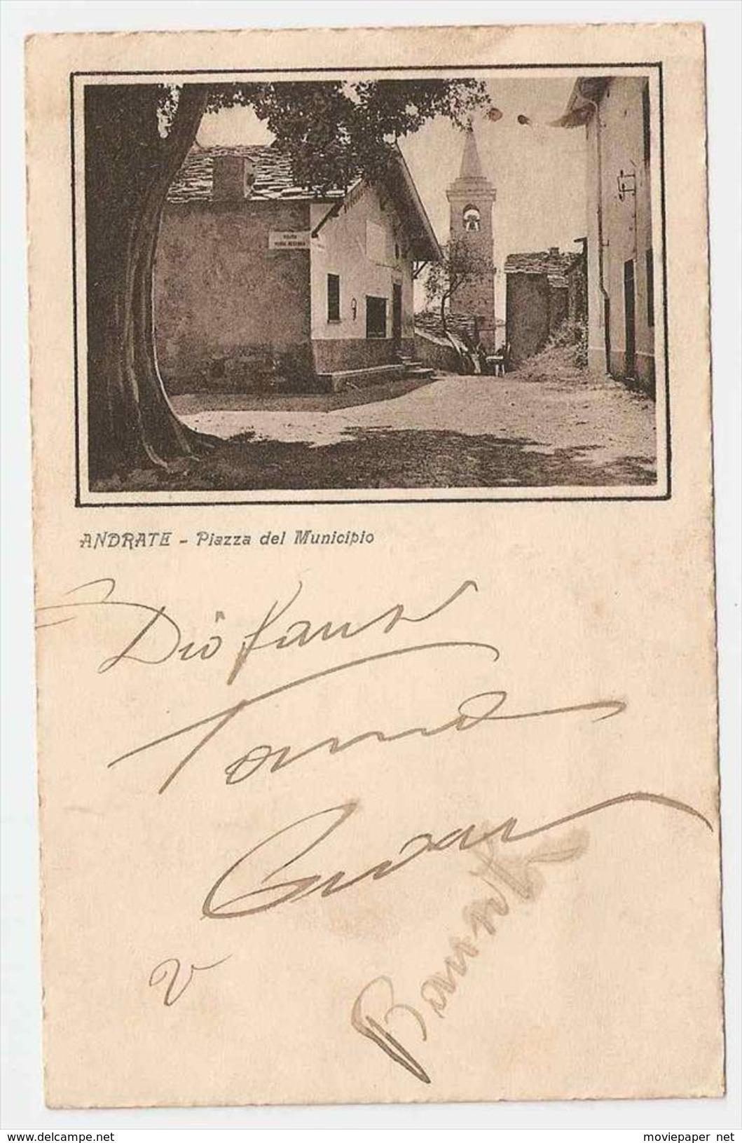 Cartolina Torino Andrate - Piazza Del Municipio - Italia