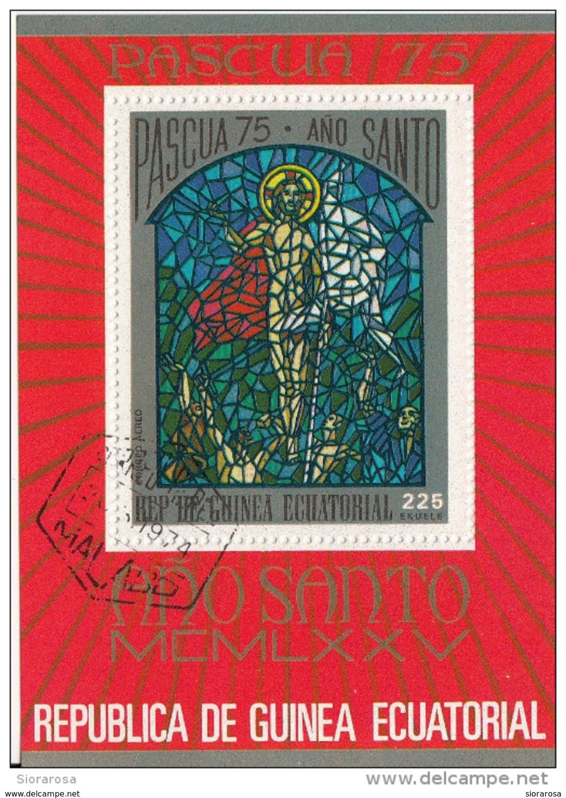 7526 Guinea Equatoriale 1975 Pasqua Anno Santo Vetrate Foglietto Perforato - Vetri & Vetrate