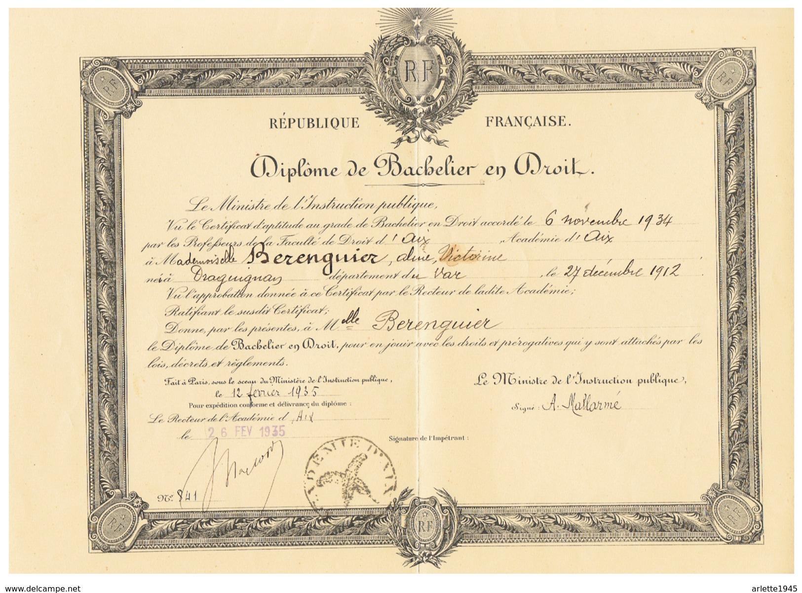 R F  DIPLOME DE BACHELIER EN DROIT  à DRAGUGNAN  (VAR)  1935 - Diplomas Y Calificaciones Escolares