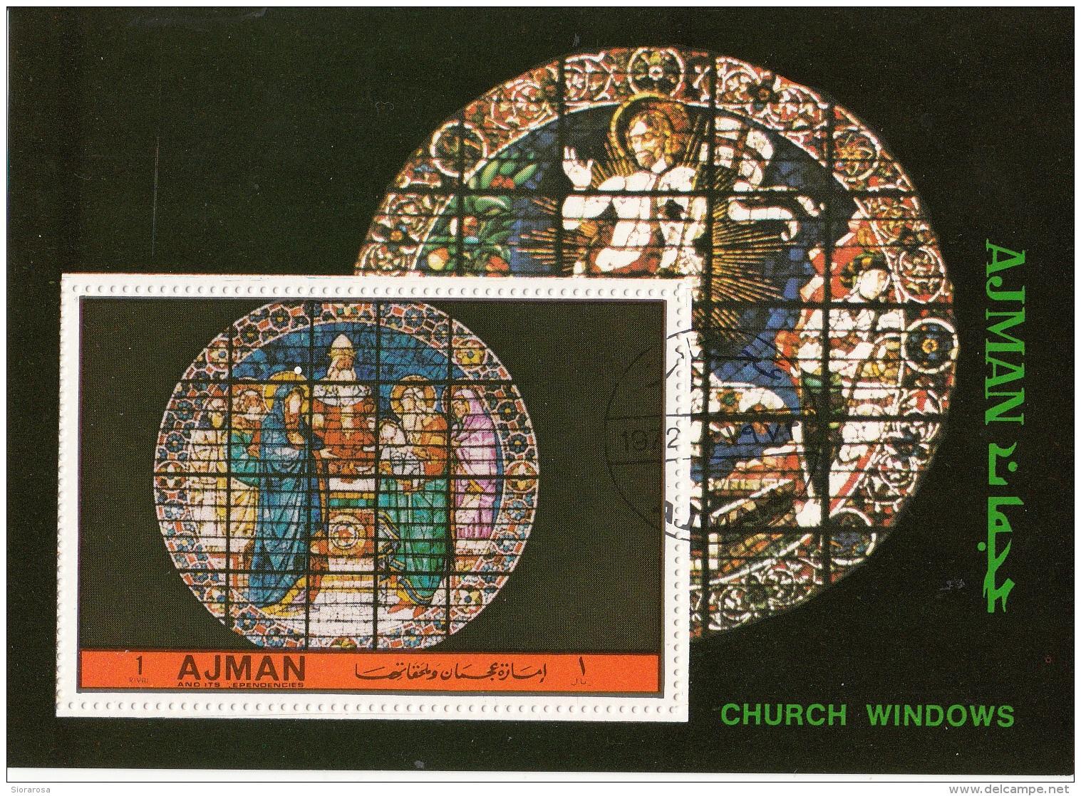 Ajman 1972 Bf. 511A Church Windows Vetrate Sheet Perf. CTO - Vetri & Vetrate