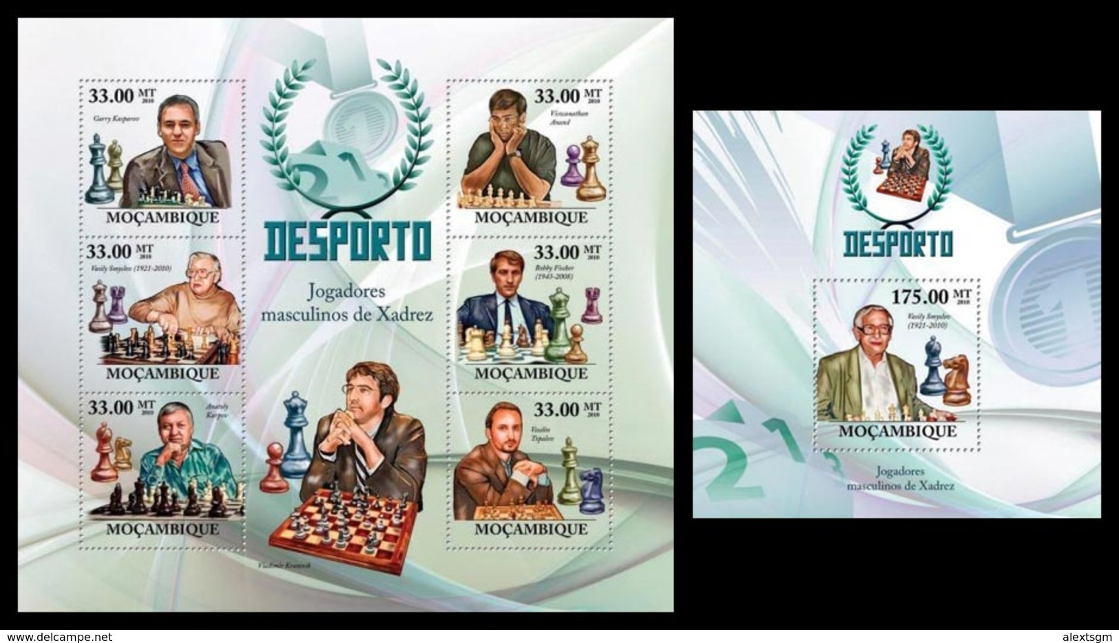 MOZAMBIQUE 2010 - Chess, Men - YT 2992-7 + BF257 - Schaken