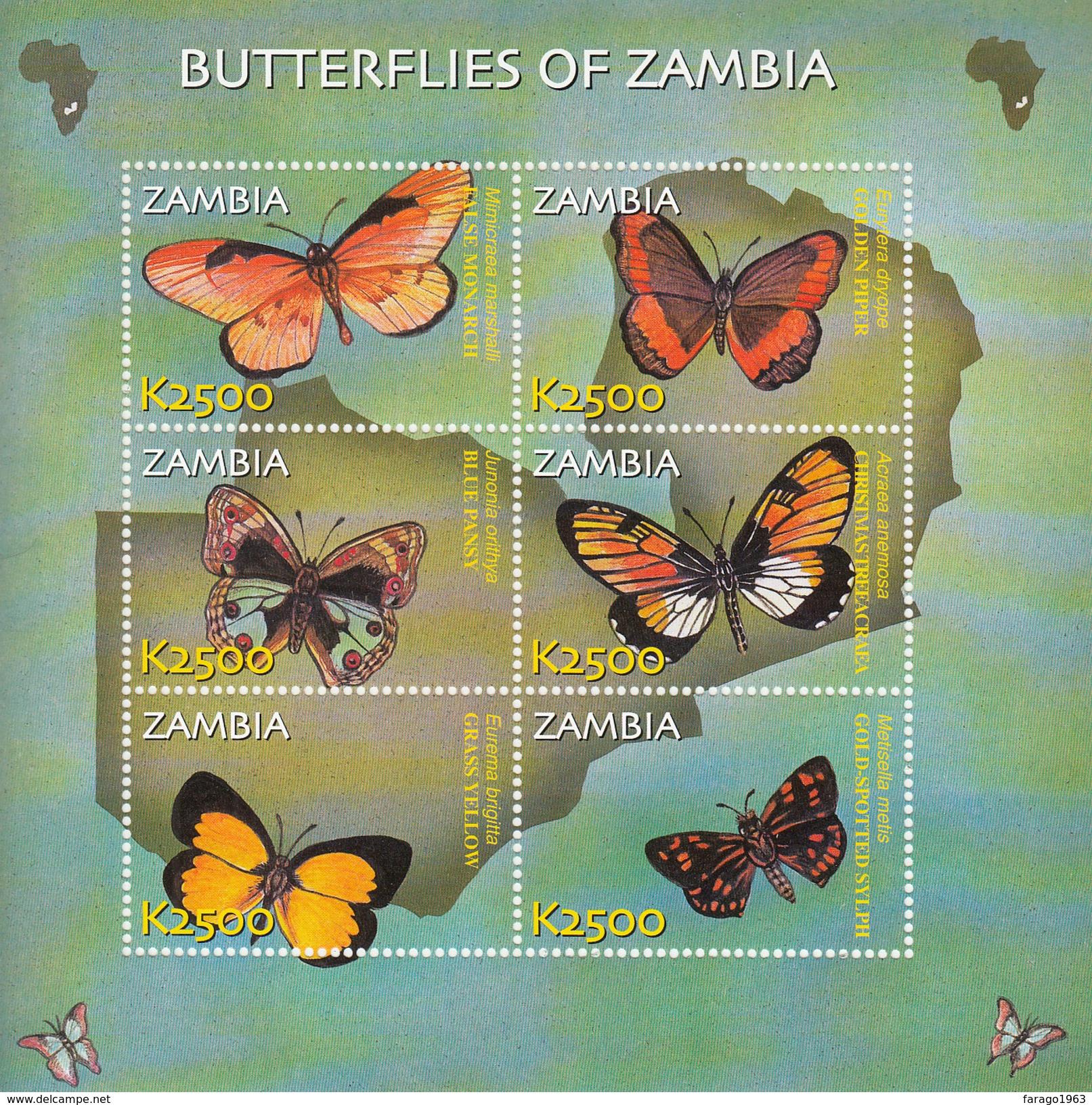 2002 Zambia Butterflies Miniature Sheet Of 6 And Souvenir Sheet MNH - Farfalle