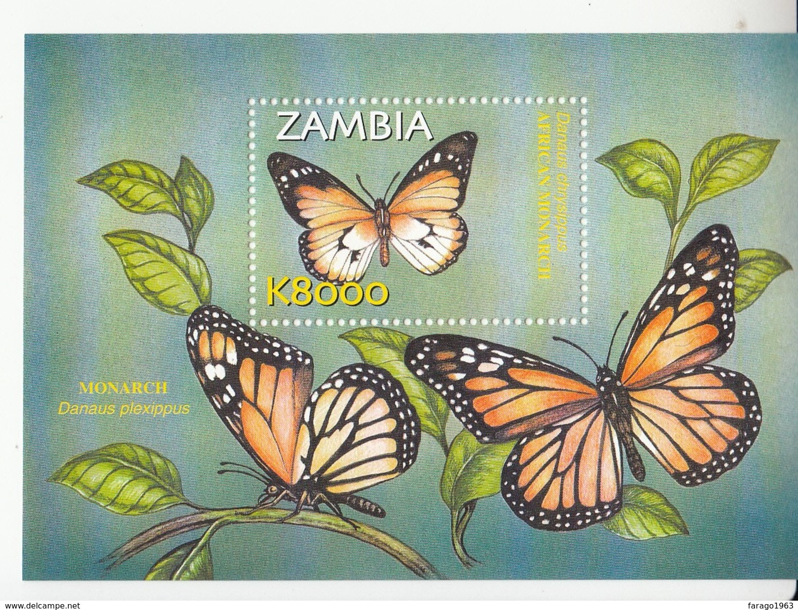 2002 Zambia Butterflies Miniature Sheet Of 6 And Souvenir Sheet MNH - Butterflies