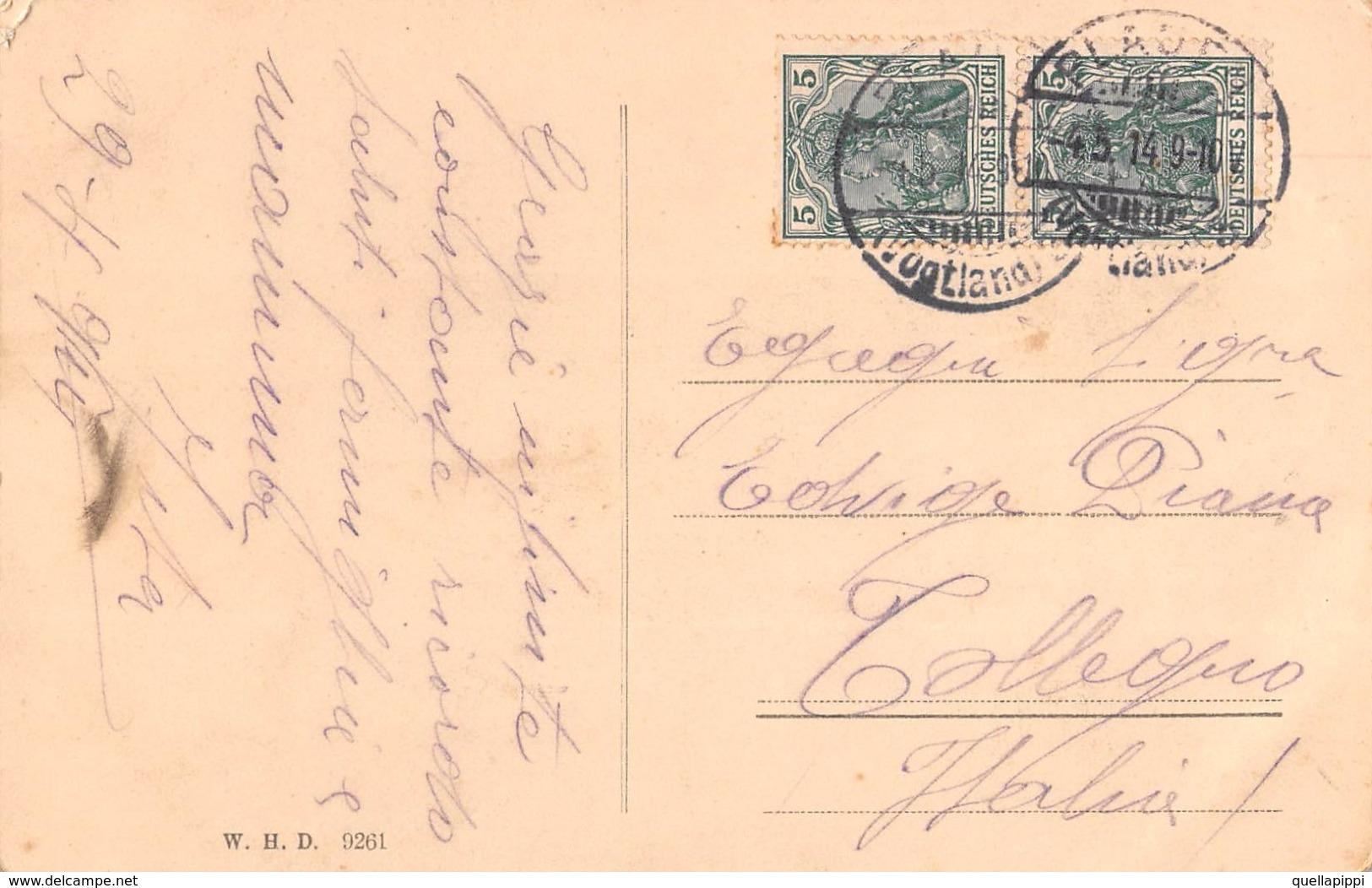"""D5807 """"PLAUEN I. V. - EINFAHRT ZUM BAHNHOF"""" FERROVIA, TRENO. CART SPED 1914 - Plauen"""