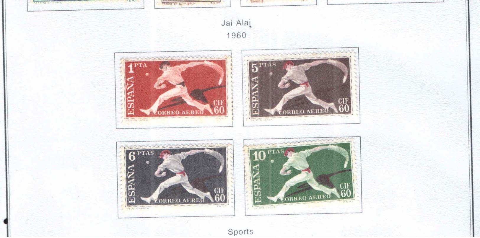 Spagna 1960 Jai Alai Arena Valori N.04 Scott.C163/166+ See Scans - Unused Stamps