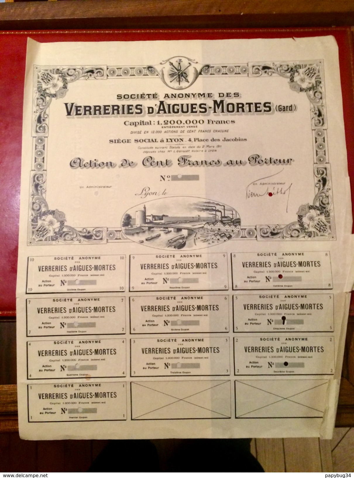 S. A.  Des  VERRERIES  D' AIGUES - MORTES  ( GARD  )  ----------Action  De  100 Frs   Non  émise  ( Blanquette  ) - Industrie
