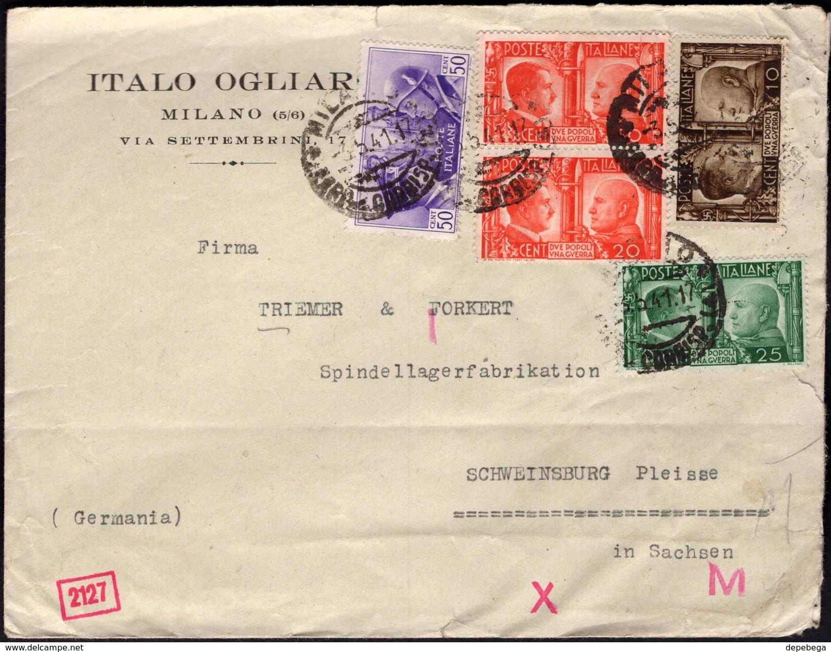 Italy - Censored Cover, 'ITALO OGLIARO' - MILANO 3.5.1941 - Schweinsburg (Mi. 623-626 MiF). - Storia Postale