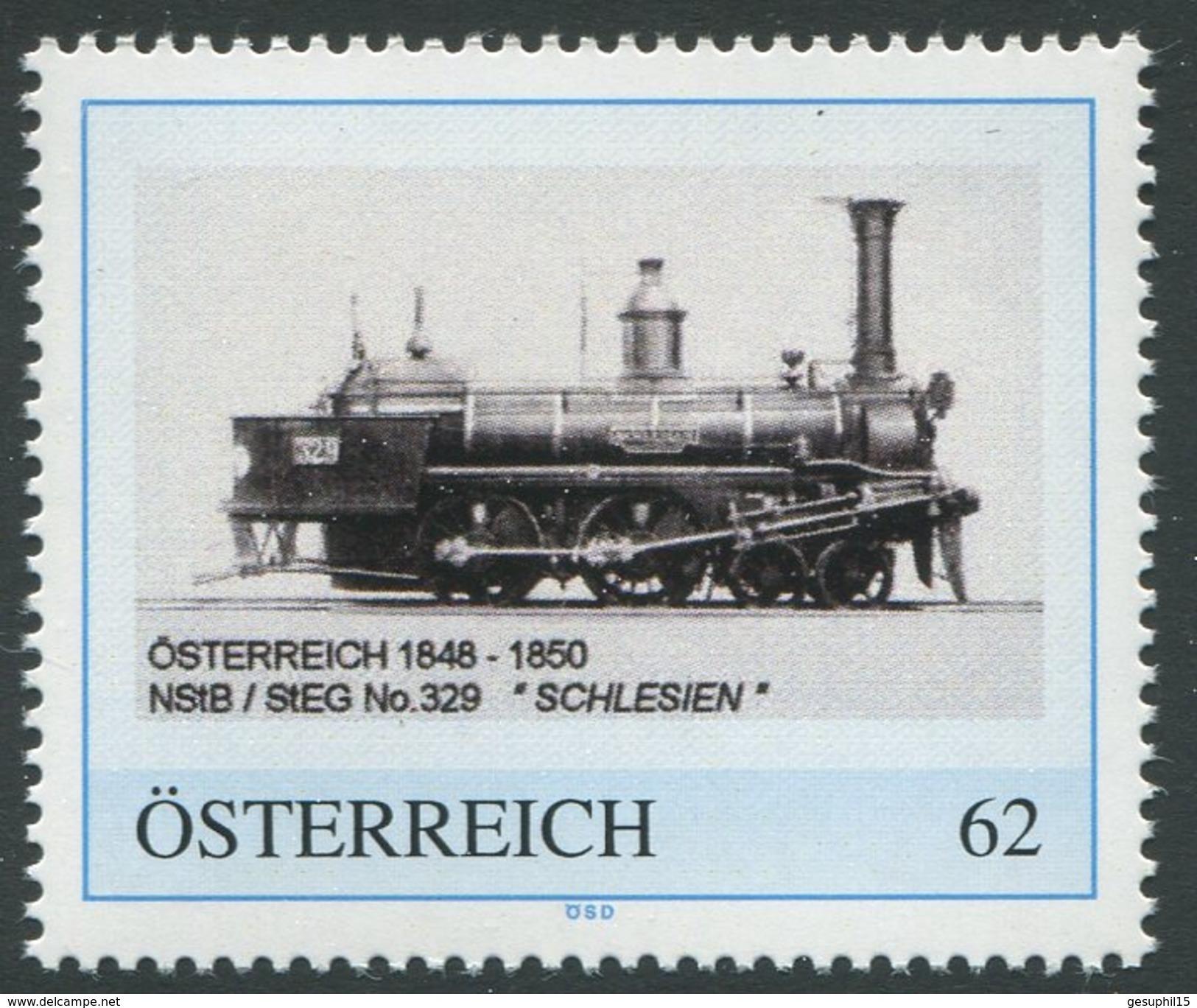 """ÖSTERREICH / Lokomotive 1848-1850 NStB / StEG No.329 """"Schlesien""""  / Postfrisch / ** / MNH - Personalisierte Briefmarken"""