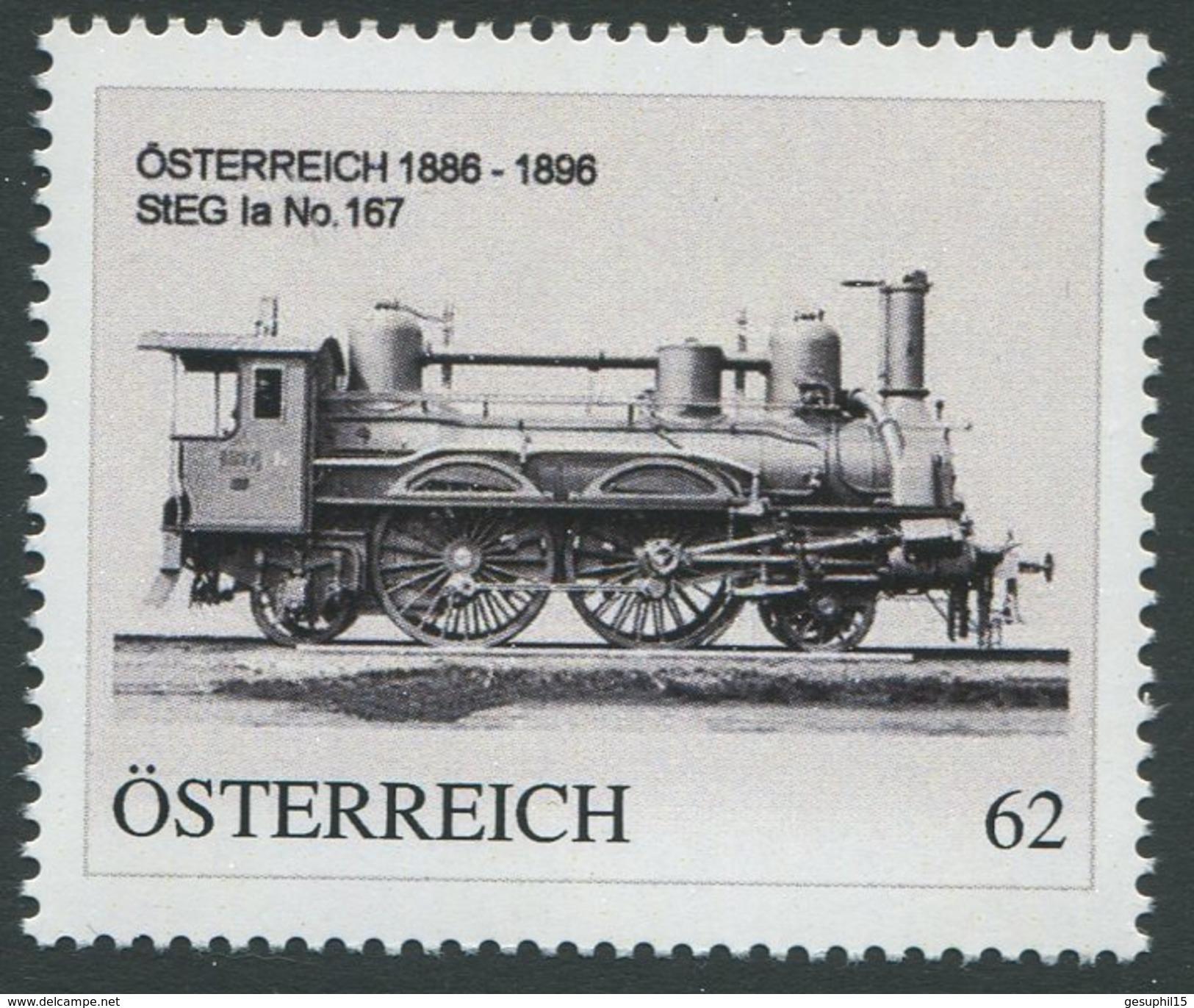 ÖSTERREICH / Lokomotive 1886-1896 StEG Ia No.167 / Postfrisch / ** / MNH - Personalisierte Briefmarken