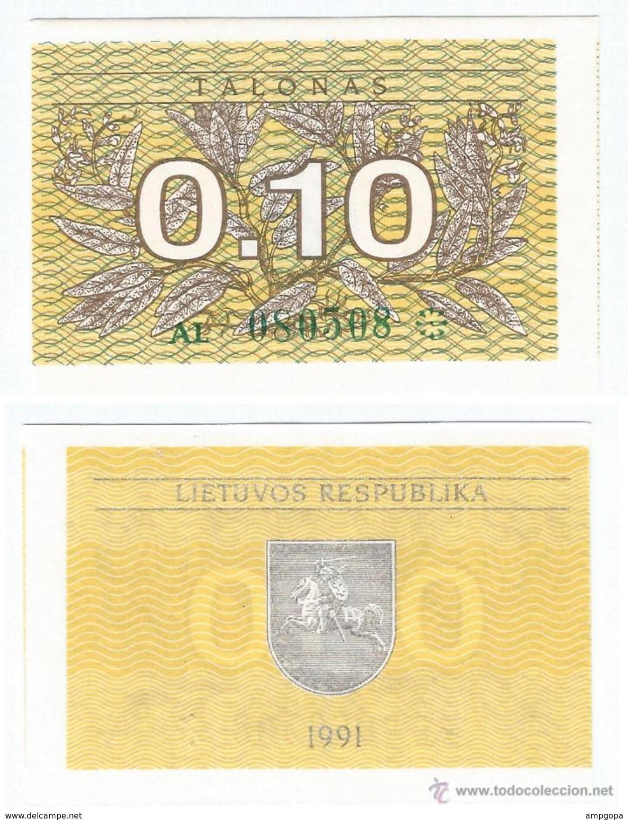 Lituania - Lithuania 0,10 Talonas 1991 Pick 29.a UNC - Lituania
